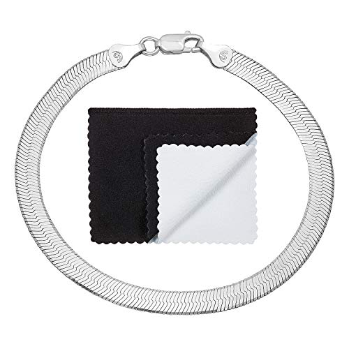 5.1mm 925 Sterling Silver Nickel-Free Italian Herringbone Chain