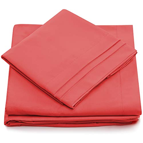 King Size Bed Sheets - Brink Pink Luxury Sheet Set - Deep Pocket - Super Soft Hotel Bedding - Cool & Wrinkle Free - 1 Fitted, 1 Flat, 2 Pillow Cases - Coral King Sheets - 4 Piece (Coral Flamingo)