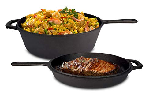 Jim Beam 2-in-1 Cast Iron Skillet, Pre Seasoned Cast Iron Skillet, Heavy Duty Construction Skillet, Skillet Perfect for Grilling and Barbecue ()