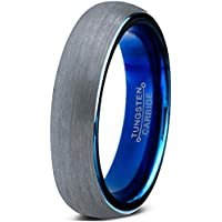 Charming Jewelers  Blue Round Domed Brushed Tungsten Wedding Band Ring, 4mm