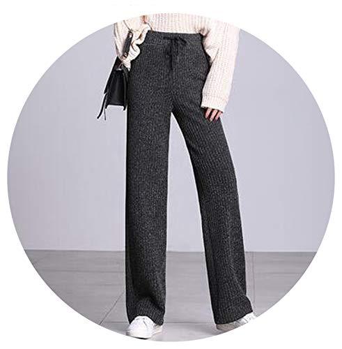 (Thicken Knitted Pants Warm Pants Winter High Waist Wide Leg Trousers Women Woolen Pant Knit,Gray,L)