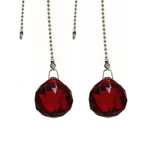 Magnificent crystal 30mm Red Crystal Ball Prism 2 Pieces Dazzling Crystal Ceiling FAN Pull Chain