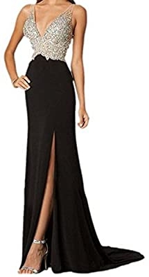 Women Sexy Deep U Neck Sleeveless Side Slit Casual Bandage Club Beach Maxi Dress