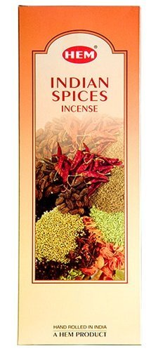 Indian Spices (Stimulating) - Box of Six 20 Stick Hex Tubes - HEM Incense Hand Rolled In India ()