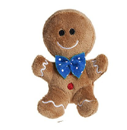 10cm Plush Gingerbread Man Soft Toy With Blue Bow Tie - Christmas Soft Toys - Christmas
