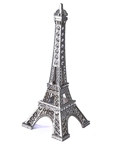 Eiffel Tower Statue,JoyFamily 7Inch (18cm) Metal Paris Eiffel Tower Decor Figurine Replica Drawing Room Table Decor Jewelry Stand Holder for Cake Topper,Gifts,Party And Home Decoration (Silver)