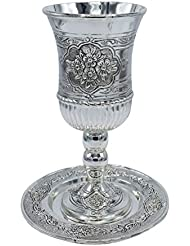 Tall Silver Plated Kiddush Cup - With Stem and Tray - Stemmed Shabbat and Havdalah Goblet - Judaica Shabbos and Holiday Gift - 7-Inch - By Ner Mitzvah