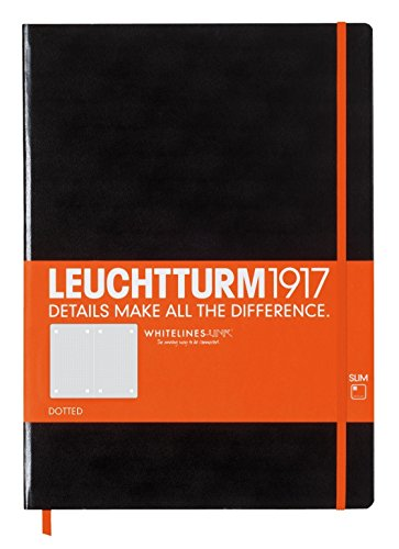Leuchtturm1917 Slim Master Hardcover Notebook, 9 X 12.5 inches, 121 Dotted Pages with Whitelines Link, Black (345310)
