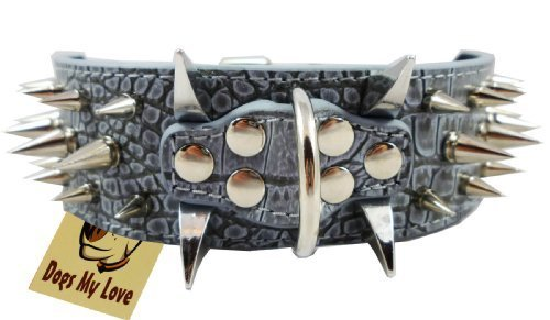 "19""-23.5"" Grey Faux Croc Leather 2"" Wide Spiked Dog Collar, 40 Large Spikes"