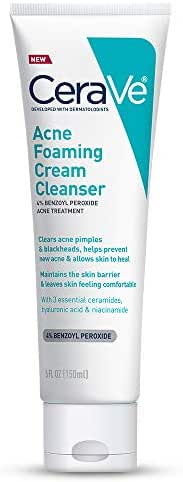 CeraVe Acne Foaming Cream Cleanser | Acne Treatment Face Wash with 4% Benzoyl Peroxide, Hyaluronic Acid, and Niacinamide | Cream to Foam Gentle Formula for Sensitive Skin | 5 Ounces