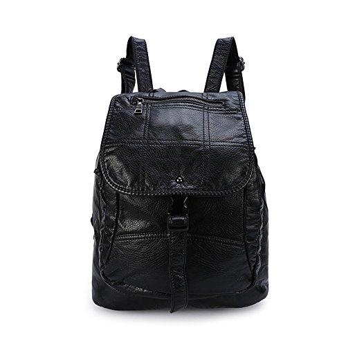 Borsa da donna in morbida pelle lavata, borsa a tracolla elegante e spaziosa, borsa Tote Cabs-Viola 6-nero