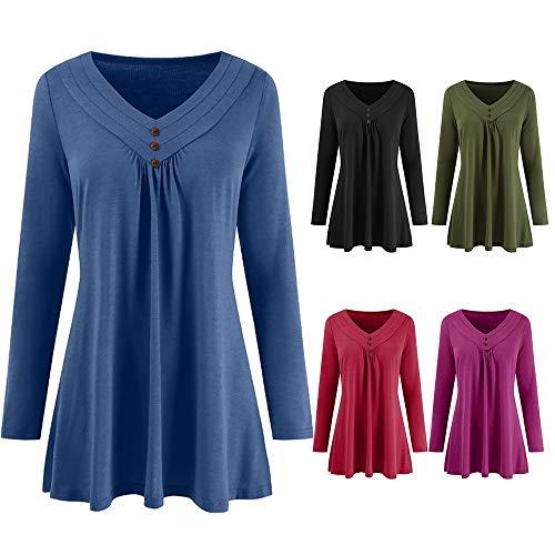 Tops Manches Casual Col LaChe Vert Blouse Shirt Innerternet Automne V Femmes Haut T Longues Mode Bouton Solide wxSXOBq