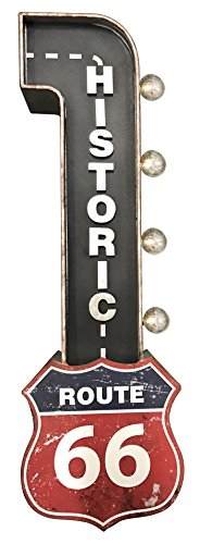 Crystal Art E2 Concepts Off The Wall Metal LED Lighted Historic Route 66 Sign, 9.25
