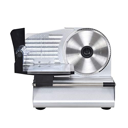 GOFLAME 7.5 Electric Slicer for Home Kintchen Restaurant Chrome Stainless Professional Semi-Auto Kitchen for Deli Cheese Vegetable Meat Slicer Machine Cutter
