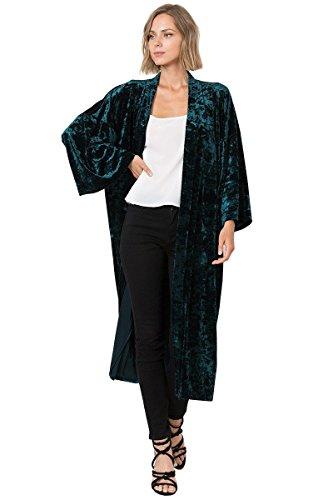 Print Coat Velvet (Modern Kiwi Midnight Love Long Sleeve Velvet Maxi Kimono Cardigan with Side Pockets Hunter Green Large)