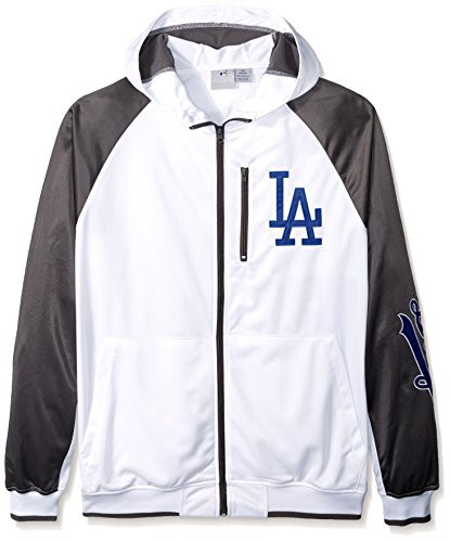 MLB Los Angeles Dodgers Men's Full Zip Tricot Logo Sleeve Track Jacket with Wordmark, 3X, White/Charcoal