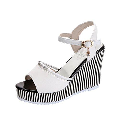 Wedding High Heels Sandals,Hemlock Women Rhinestone Platform Shoes Buckle Slope Flats Slip On Wedges Shoes (US:8, White)