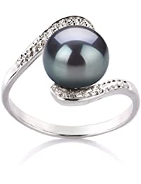 PearlsOnly - Chantel Black 9-10mm AA Quality Freshwater 925 Sterling Silver Cultured Pearl Ring