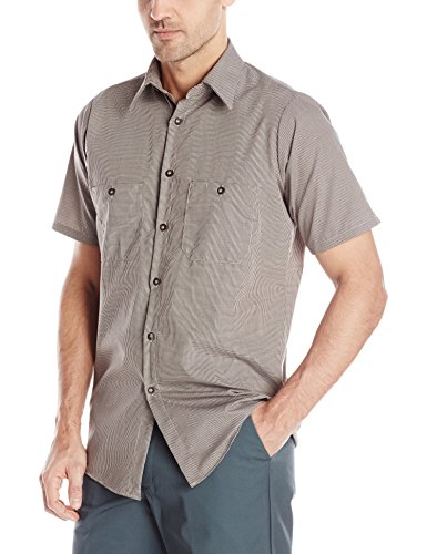 Red Kap Men's Micro-Check Uniform Shirt, Khaki/Black Check, Short Sleeve Large (Short Work Micro Check Shirt Sleeve)