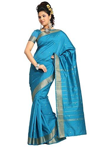 Sari Blue Turquoise (Indian Selections - Turquoise Art Silk Saree Sari fabric India Golden Border)