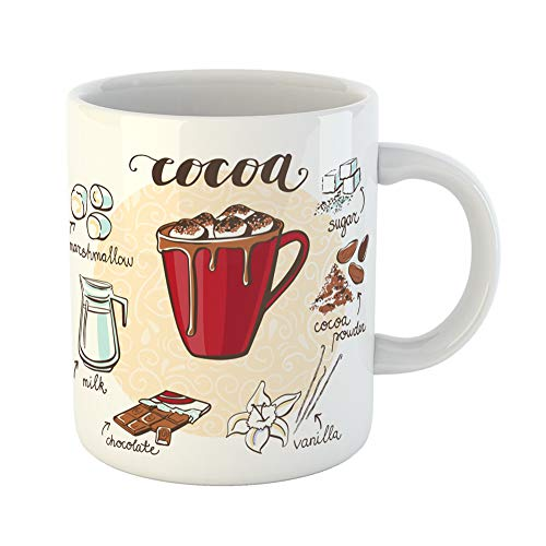 Emvency Coffee Tea Mug Gift 11 Ounces Funny Ceramic Hot Drink Cocoa Marshmallow Cup Non Alcoholic Beverage and Doodle Ingredients Gifts For Family Friends Coworkers Boss Mug ()