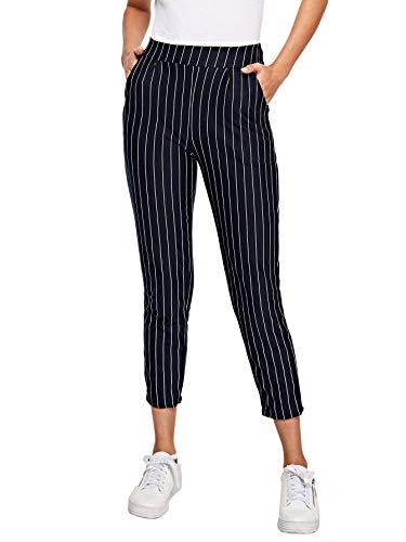 (WDIRARA Women's Elegant Striped High Waist Pocket Side Pinstripe Carrot Pants Multicolor S)