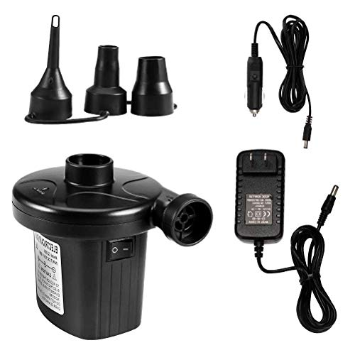 Price comparison product image Ovbrn Electric Air Pump Quick-Fill Air Pump with 3 Nozzles Portable Air Mattress Inflator/Deflator Camping Pump for Bed Rafts Floats Boat Pool Toys 2 in 1 AC 110V UK Plug/DC 12V Car Electric Pump