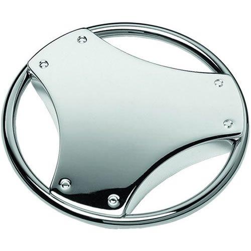Bañado en plata diseño en forma de volante Llavero: Amazon ...