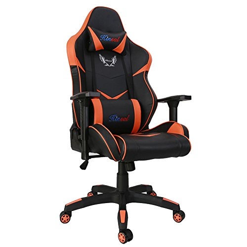 [Upgraded Version] Kinsal Large Size Big and Tall Computer Chair, Gaming Chair High-back, Ergonomic Racing Chair , Leather Swivel Office Executive Chair (Orange) Kinsal