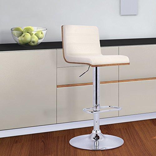 Chrome Cream (Armen Living LCAUBAWACR Aubrey Barstool with Polyurethane Upholstery & Walnut Back, Chrome Base)