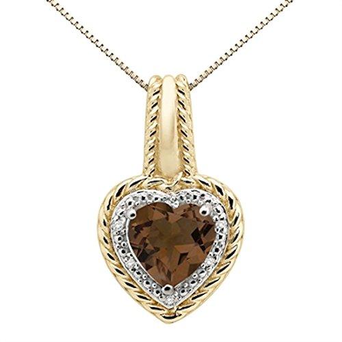 1.85Ct Heart Shaped Smokey Quartz and Diamond Pendant in 10K Yellow Gold