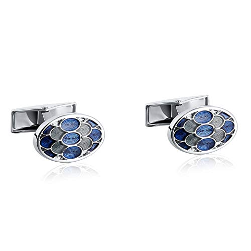 (AMDXD Cuff Link Mens Silver Blue Oval Shape and Blue Grilles Pattern Shirt Cufflinks Cuff Links Mens Stainless 1.8x1.2CM)
