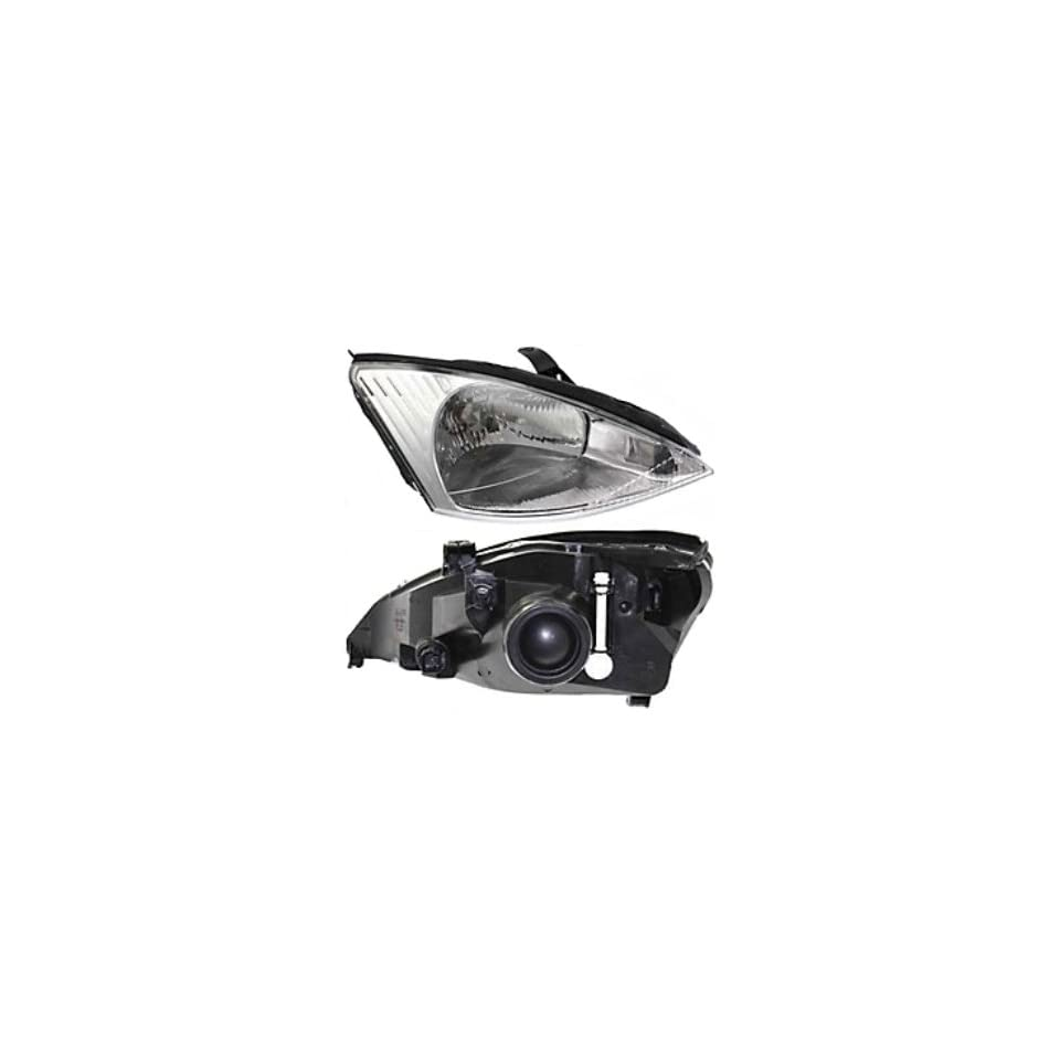 FORD FOCUS HEADLIGHT RIGHT (PASSENGER SIDE)WITHOUT HID,CHR BEZEL 2000 2004