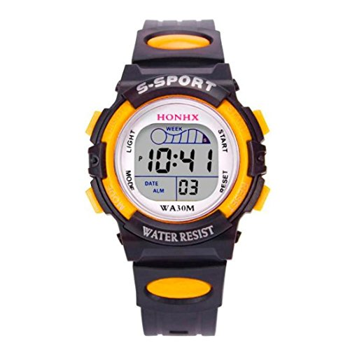 - Ruhiku GW Fashion Waterproof Children Boys Digital LED Sports Watch Kids Alarm Date Watch Gift (Yellow)
