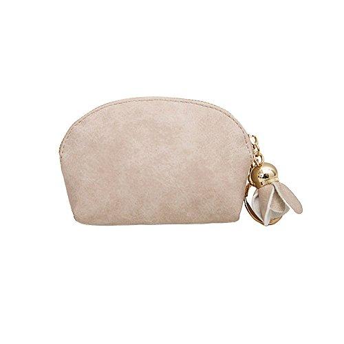 (Cinhent Wallets Women Leather Small Mini Holder Zip Coin Purse Clutch Handbag (Beige))