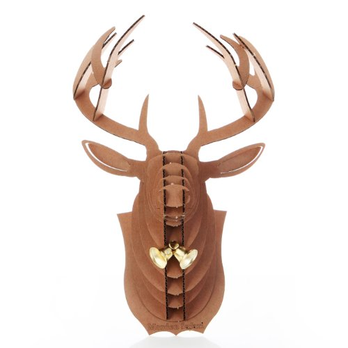 Deer Head Antler 3D Puzzle Jigsaw DIY Art Paper Christmas Rudolph Reindeer Golden Bell Animal Model Home Office Accent Kid Room Wall Hanging Mounted Plaque Decor Toy Kit (Brown)