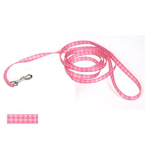 Coastal Pet Products DCP364PDT Nylon Pet Attire Patterned Dog Training Leash, 3/8-Inch by 4-Feet, Polka Dot Pink