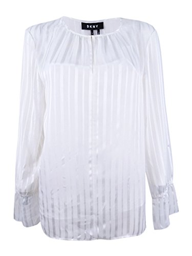 DKNY Striped Bell-Sleeve Top (Ivory, L)