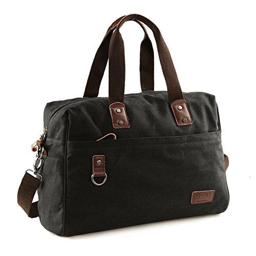 Sincere® / Bolso de la lona / bolso del hombre de bolso grande del hombro Capacidad de la bolsa / mensajero / mochila-negro