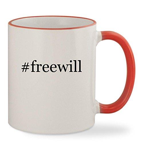 #freewill - 11oz Hashtag Colored Rim & Handle Sturdy Ceramic Coffee Cup Mug, Red