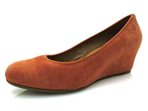 Tamaris - Zapatos de vestir de cuero para mujer naranja naranja