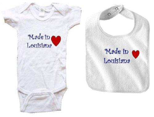 MADE IN LOUISIANA - LOUISIANA BABY - 2 Piece Baby-Set - State-series - White Baby One Piece Bodysuit / Baby T-shirt and White Bib - size Newborn (0-6M)