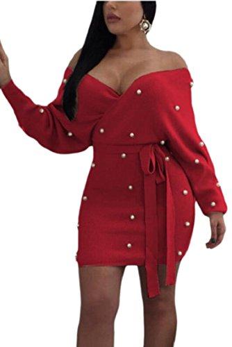 Jaycargogo Womens Hors Manches Longues Épaule Mini Rouge Robe