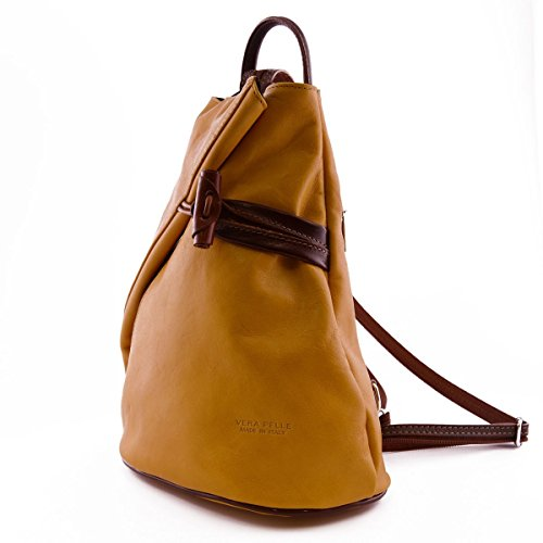 Made In Italy Leather Backpack For Women With Zipped Straps Color Yellow Brown Tuscan Leather - Backpack