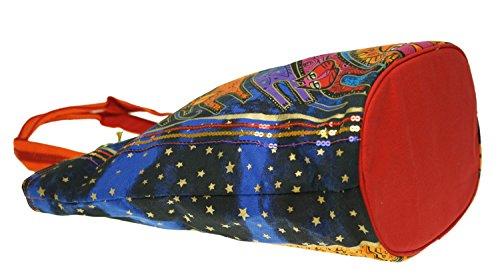 Laurel Burch axelväska, 19,5 x 7,5 x 15 tum, en gång i en blå måne