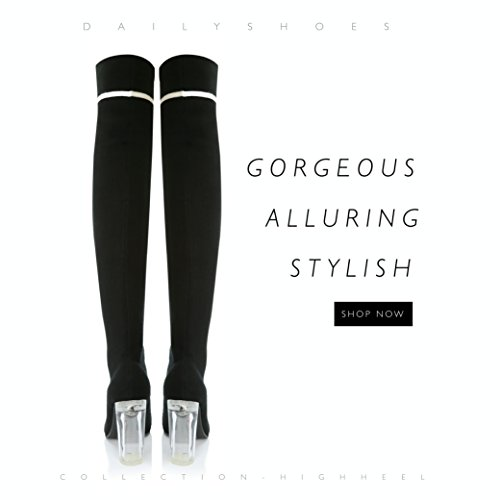 DailyShoes Material Look Nightwear Sweater High Knee Sweater Boots Toe Thigh Heels Soft a Pointy Unique The Ideal Through See Tall Over Knitted Heel Chunky Black Knit Sweater for rYZgr