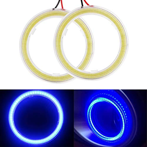 EverBrightt 1-Pair Blue 60MM 45SMD LED Vehicle Car Angel Eyes Halo Ring Lights Lamps with Shell