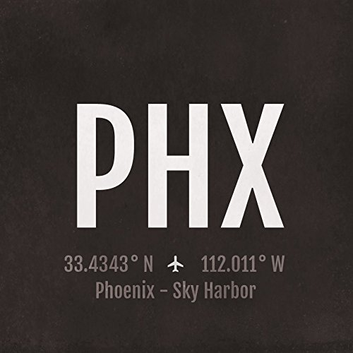 Phoenix Airport Code Print - PHX Aviation Art - Arizona Airplane Nursery Poster, Wall Art, Decor, Travel Gifts, Aviation Gifts (Phoenix Arizona Airport)