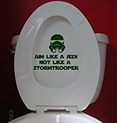 """Aim Like a Jedi not a Stormtrooper vinyl decal sticker 7"""" x 5.5"""" Toilet Sign by Minglewood Trading"""