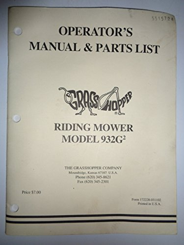 Grasshopper 932G2 Riding Mower Operators/Owners & Parts List Manual Original 172228-031102